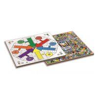 Tablero de Parchis / oca 6 jugadores con accesorios de madera 40x40